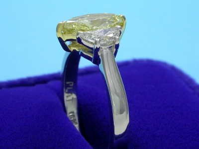 Marquise Cut Diamond Ring: 0.90 carat 2.03 ratio Fancy Yellow with 0.49 tcw Crescent Moon Diamonds