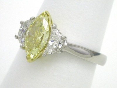 Marquise and Crescent Three Stone Diamond Engagement Ring