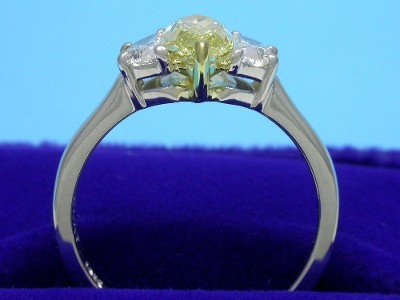 Crescent Side Diamonds with Fancy Yellow Marquise
