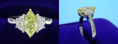 Marquise Cut Diamond Ring: 0.90 carat with 2.03 ratio in 0.49 tcw Crescent Moon Three Stone mounting