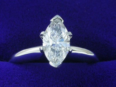 Marquise Cut Diamond Ring: 0.91 carat with 1.92 ratio in 6-prong Solitaire style mounting