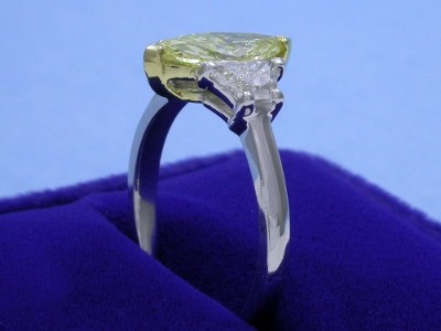 Marquise Cut Diamond Ring: 1.04 carat with 2.27 ratio and 0.81 tcw Crescent Trapezoid Diamonds