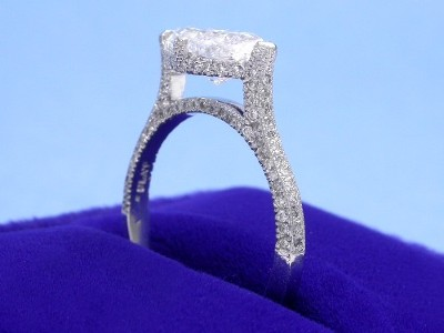 Marquise Cut Diamond Ring: 1.63 carat with 1.74 ratio in 0.40 tcw pave mounting