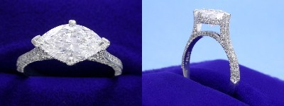 Marquise Cut Diamond Ring: 1.63 carat with 1.74 ratio in 0.40 tcw Pave Set mounting