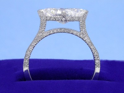 Marquise Cut Diamond Ring with Pave Mounting