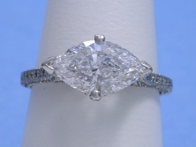 Marquise Cut Diamond Set Across the Finger with Four Prongs