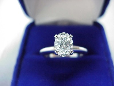 Oval Cut Diamond Ring: 0.80 carat in four-prong Solitaire style mounting