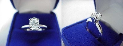 Oval Diamond Ring: 0.80 carat with 1.33 ratio in four-prong Solitaire style mounting
