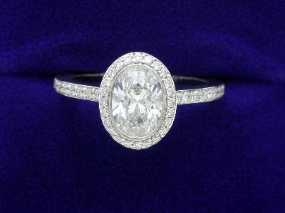 Oval Cut Diamond Ring: 1.00 carat with 1.38 ratio in 0.39 tcw Bez Ambar pave mounting