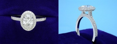 Oval Diamond Ring: 1.00 carat with 1.38 ratio in 0.39 tcw Bez Ambar pave mounting