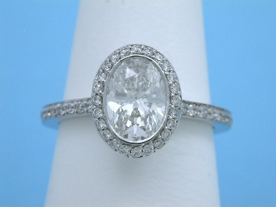 Bez Ambar Designer Bezel-Set Oval Diamond Ring