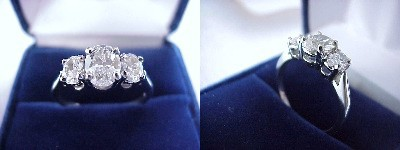 Oval Diamond Ring: 1.01 carat with 1.35 ratio in 0.70 tcw Oval Cut diamond three-stone mounting