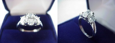 Oval Diamond Ring: 1.03 carat with 1.42 ratio in 0.65 tcw Oval Cut diamond three-stone mounting