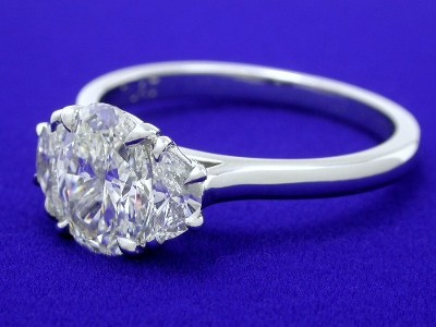 Oval and Crescent Moond 3-Stone Diamond Ring