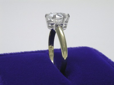 Oval Ring with 6-Prong White-Gold Basket Head and Yellow-Gold Shank