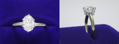 Oval Diamond Ring: 1.10 carat with 1.44 ratio in six-prong basket style mounting