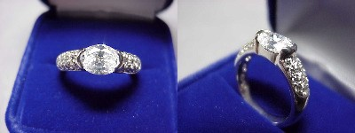 Oval Diamond Ring: 1.17 carat with 1.36 ratio in 0.50 tcw Pave and Half Bezel mounting