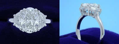 Oval Diamond Ring: 1.22 carat with 1.44 ratio in 0.70 tcw Crescent Moon diamond mounting