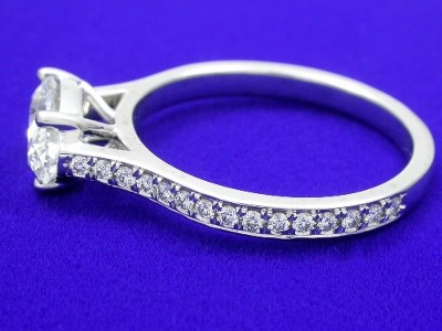 Oval Cut Diamond Ring with Pave Cathedral Style Shank