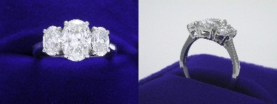 Oval Diamond Ring: 1.33 carat with 1.39 ratio in 0.90 tcw Oval Cut diamond three-stone mounting