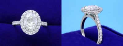 Oval Cut Diamond Ring: 1.50 carat with 1.35 ratio and 0.63 tcw pave diamonds