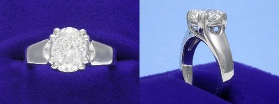 Oval Diamond Ring: 1.51 carat with 1.30 ratio in eight-prong Trellis style mounting