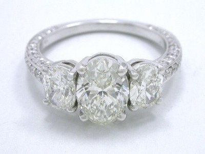 Oval Three-Stone Diamond Engagement Ring with Pave on Three Sides of  Shank