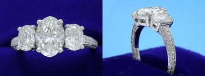 Oval Diamond Ring: 1.51 carat with 1.42 ratio in 1.03 tcw Oval Cut and 0.50 tcw Pave diamond three-stone mounting