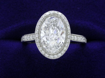 Oval Cut Diamond Ring: 1.70 carat with 1.49 ratio in 0.48 tcw Bez Ambar mounting