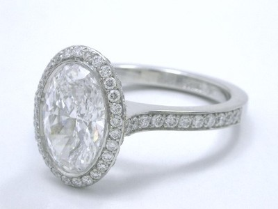 Oval Diamond Ring with Pave Going Three Fourths the Way Down the Shank