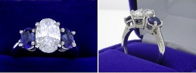 Oval Diamond Ring: 1.70 carat with 1.50 ratio in 1.20 tcw Oval Cut Blue Sapphire three-stone mounting