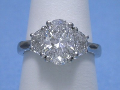 Oval Cut Diamond Ring 1 78 Carat With 0 74 Tcw Crescent
