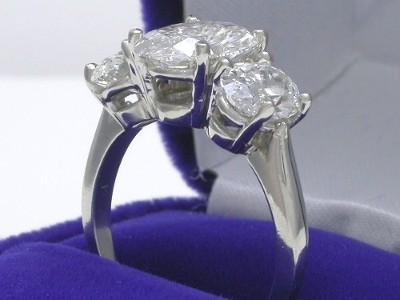 Oval Cut Diamond Ring: 2.08 carat with 1.50 ratio and 1.81 tcw Side Oval Diamonds