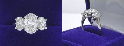 Oval Diamond Ring: 2.08 carat with 1.50 ratio in 1.81 tcw Oval Cut diamond three-stone mounting