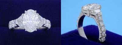 Oval Diamond Ring: 2.28 carat with 1.49 ratio in 0.65 tcw Crescent Moon and 0.71 tcw Pave three-stone mounting
