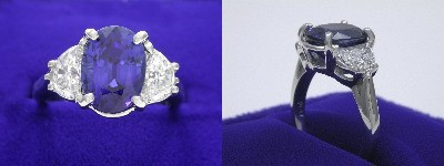 Oval Cut Blue Sapphire Ring: 3.05 carat with 0.82 tcw Half Moon Diamonds