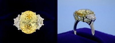 Oval Yellow Sapphire Ring: 8.30 carat with 1.27 ratio and 1.32 tcw Crescent Moon Diamonds
