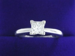 0.51 carat Princess Cut diamond graded H color, SI1 clarity in Solitaire style mounting