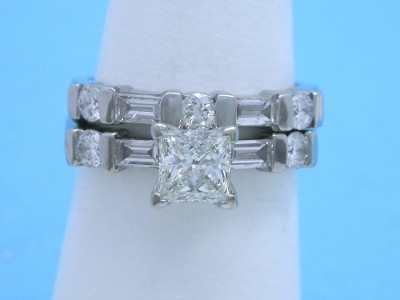 Princess Diamond Ring with Matching Diamond Band