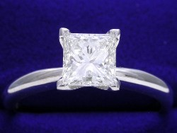 1.23 carat Princess Cut diamond graded H color and SI1 clarity in a four-prong Solitaire style 14-karat white-gold mounting