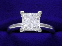 1.71 carat Princess Cut diamond with H color and VS1 clarity in a 4 prong ring