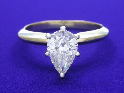 Pear Cut Diamond Solitaire Engagement Ring