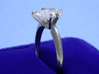 Pear Cut Diamond Ring: 1.26 carat with 1.64 ratio in 6-prong Solitaire mounting