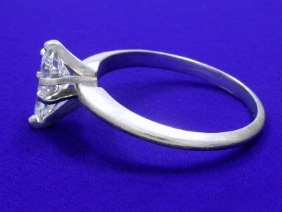 Pear Cut Diamond Ring with Six-Prong Head and Knife-Edge Style Shank
