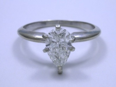 Pear Cut Solitaire Diamond Ring with 14-Karat White-Gold Mounting