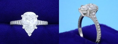 Pear Cut Diamond Ring: 2.02 carat with 1.56 ratio in 0.17 tcw Pave and Hand Engraved Mounting