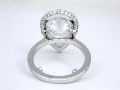 Pear Cut Diamond Engagement Ring with Pave Mounting