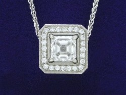 1.23 carat Asscher Cut diamond graded F color and VS1 clarity in a platinum pendant-enhancer mounting with 0.40 tcw pave-set diamonds