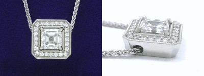 Asscher Cut Pendant: 1.23 carat Diamond in Single Bail Basket Style Mounting