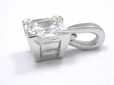 1.23 carat Asscher cut diamond in platinum four-prong custom basket style pendant mounting with a single bail